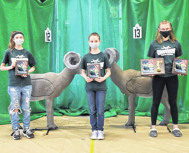 The Eastern Eagles Archery Club had three participants recently compete in 2021 Ohio Nasp/IBO 3D state tournament. Cydnie Gillilan an 11th grader took first place in high school female division as well as overall female champion. Alexus Mettler a 7th grader took second place in middle school female division and Allison Putnam a 5th grader took second place in elementary school female division. The three girls are pictured with their trophies they received.