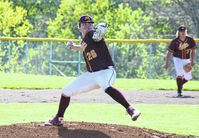 Meigs sophomore Ethan Stewart (26) pitches during the Marauders' April 26 game against Athens in Rocksprings, Ohio.