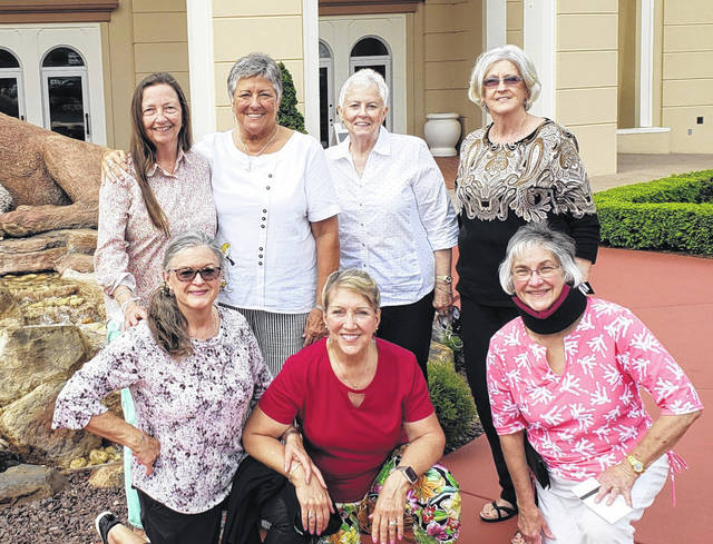 Seven classmates of the Holzer Medical Center School of Nursing Class of 1971 met recently in Ronks, PA, for their 50th reunion. Kneeling L to R: Sharon Sheets Steele, Sharon Sparks Crabtree, Janice Rose Bowersox. Standing: Sandra Davidson Barnes, Candace Bahr Pope, Lennie Morris Davis, and Karen Bailey Newberry. The group enjoyed a week in beautiful Amish Country and attended a performance at the Sight and Sound Theatre in Lancaster, PA. The Class of '71 has met for reunions every five years in various locations, beginning in Gallia County and including Maine, Hilton Head Island, New Hampshire, Connecticut, Rhode Island, Massachusetts, San Antonio, and Put-In-Bay. (Information and photo provided by Candace Bahr Pope).
