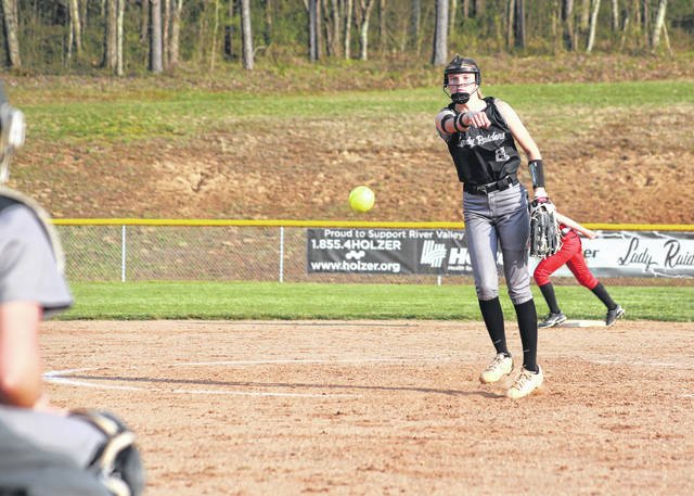 River Valley senior Sierra Somerville releases a pitch during an April 7 softball contest against Alexander in Bidwell, Ohio.