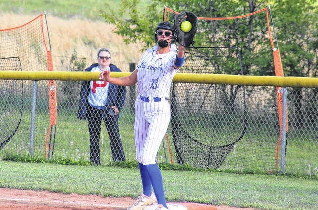 Gallia Academy's Abby Hammonds (33) catches the ball for an out at first base, during the Blue Angels' loss to Portsmouth on Monday in Centenary, Ohio.