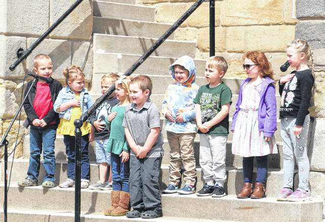 Children from Little Lamb Preschool led the Pledge to the Christian Flag and the Bible, as well as singing song as part of the 30th annual Meigs County National Day of Prayer.