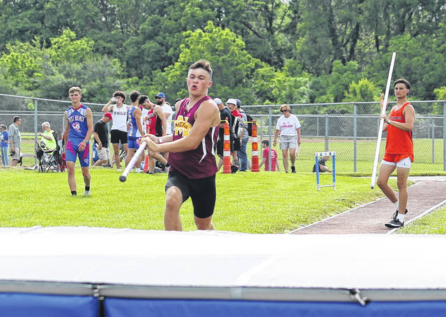 Meigs sophomore Matthew Barr approaches the pit area for an attempt in the pole vault Thursday night at the Region 7 Championships held at Southeastern High School in Londonderry, Ohio.