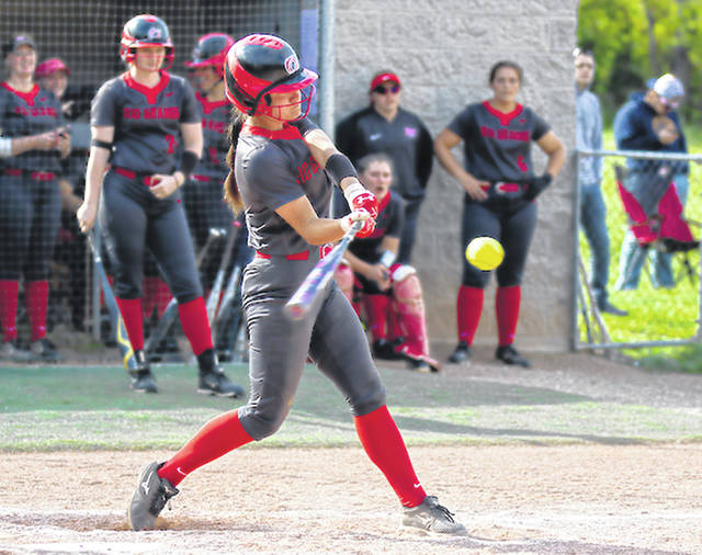 Rio Grande's Caitlyn Bisker had six hits and four runs batted in, including a three-run ninth inning home run in game one, as the RedStorm swept a River States Conference softball doubleheader from Carlow University, Friday evening, in Kennedy Township, Pa.
