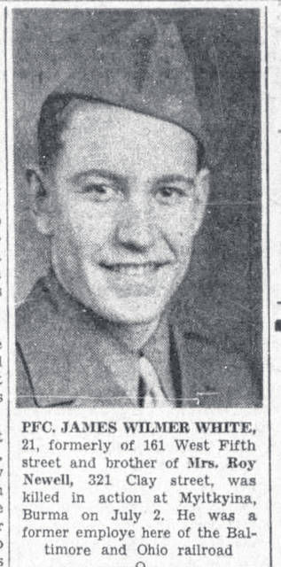 News clippings regarding Army Pfc. James W. White who served in World War II.
