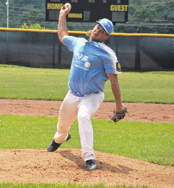 Andrew Dodson delivers a pitch, during Post 39's 4-3 victory on Sunday at Meigs High School in Rocksprings, Ohio.