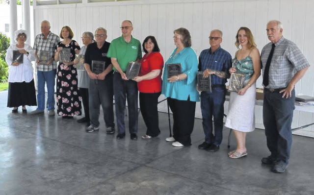 Pictured from left are Bev Jeffers, Our House Tavern, Jerry Davis, Gallipolis Railroad Freight Station Museum, Debbie Saunders, Bossard Library, Cheryl Enyart, Gallia County Historical Society, Jake Bapst, University of Rio Grande Archives, Larry Miller, Bryna Butler, Ohio Valley Bank, Lora Lynn Snow, Ariel Opera House, Rich Thomas, Ohio Tattoo Museum, Rachel Harper, French Art Colony, and Tom O'Grady, Southeast Ohio History Center.