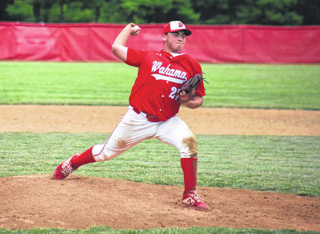 Wahama's Zachary Fields pitches in relief, during the White Falcons' victory on June 1 in Mason, W.Va.