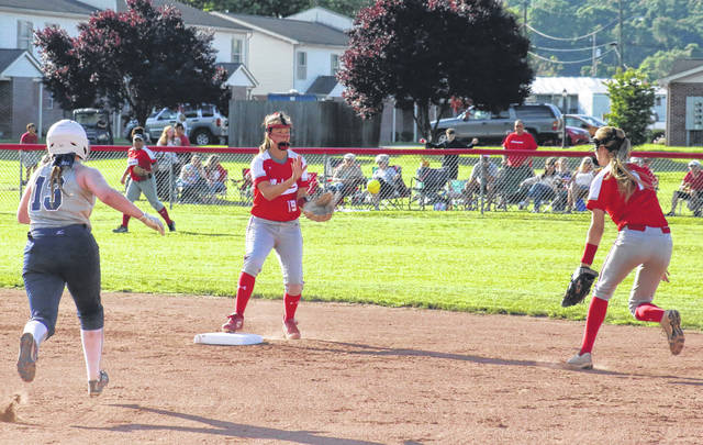 Wahama senior Emma Gibbs (right) flips to junior Lauren Noble (19) to start a double-play, during the Lady Falcons' 2-0 victory in the Class A Region IV tournament on Tuesday in Hartford, W.Va.