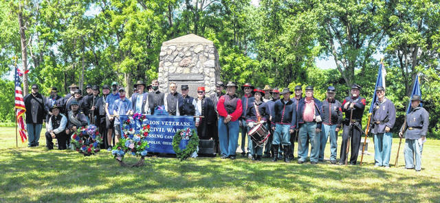 Pictured are re-enactors from Sons of Union Veterans of the Civil War John Townsend Camp #108, Gen. Benjamin Fearing Camp #2, SUVCW, Cadot-Blessing Camp #126, and Brooks-Grant Camp #7 who participated in the 2019 memorial of the Battle of Buffington Island.