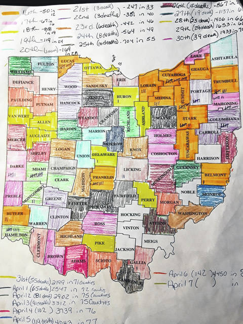 This map, with its handwritten notes, used by Ohio Valley Publishing from April 7, 2020, shows the final few counties without a confirmed COVID-19 case.