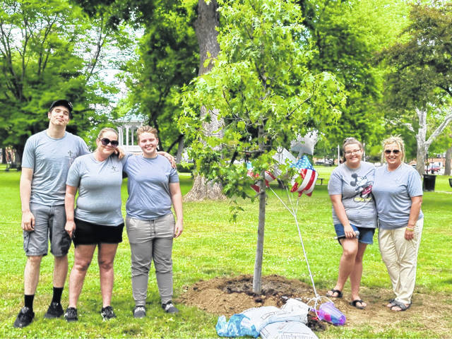 """Representatives from the Gallia County Youth Coalition are pictured following the planting of the """"Tree of Hope"""""""