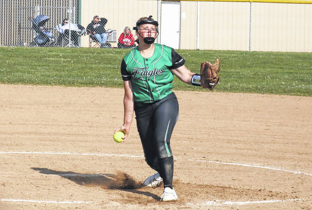 Eastern senior Tessa Rockhold pitches, during the Lady Eagles' April 23 game against Trimble in Tuppers Plains, Ohio.