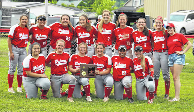 Members of the Wahama softball team pose for a photo after winning the Class A Region IV, Section 2 championship on Monday in Hartford, W.Va.