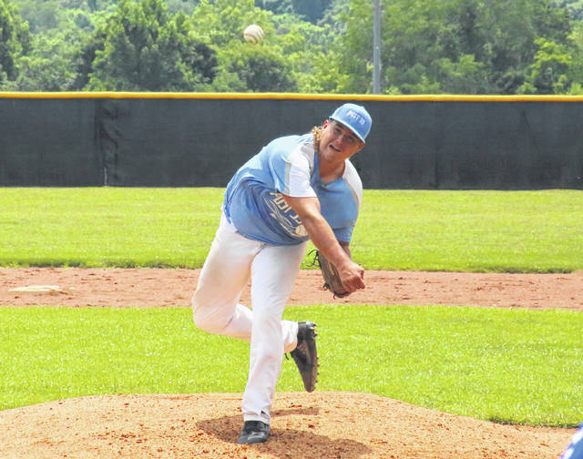 Andrew Dodson releases a pitch, during a June 13 victory at Meigs High School in Rocksprings, Ohio.