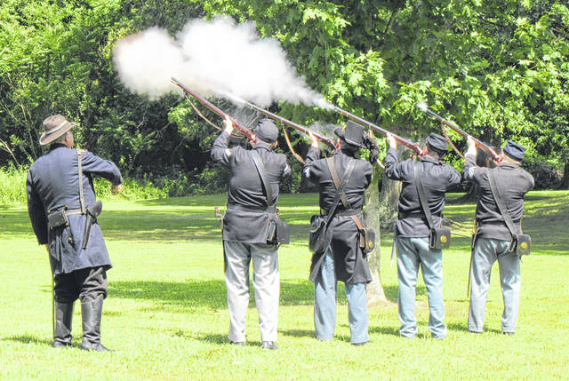 A firing of salute was held as part of a previous memorial service to commemorate the Battle of Buffington Island.