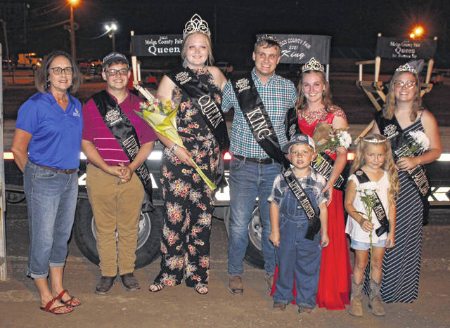 The 2021 Meigs County Fair Royalty was sponsored by Peoples Bank. Pictured are Peoples Bank Pomeroy Branch Manager Tina Rees, Livestock Prince Jacob Fitch, Fair Queen Olivia Harris, Fair King Jacob Spencer, Little Mister Meigs County Everett Lee, Fair Queen First Runner Up Shelbe Cochran, Little Miss Meigs County Ariana Bland, and Livestock Princess Lizzie Parry.
