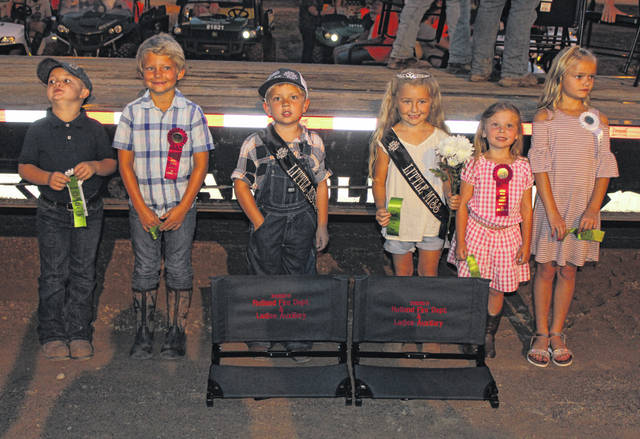 Little Miss and Mister royalty are (from left) Little Mister Second Runner Up Braxton Madden, Little Mister First Runner Up Caiden Sellers, Little Mister Meigs County Everett Gregory Lee, Little Miss Meigs County Ariana Bland, Little Miss First Runner Up Lucy Lane Mankin and Little Miss Second Runner Up Paisley Hicks.