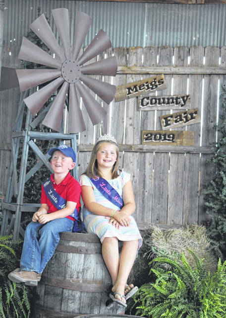 The 2019 Little Mister Meigs County Tucker Hupp and 2019 Little Miss Meigs County Brielle Wyatt are pictured during the Meigs County Fair.