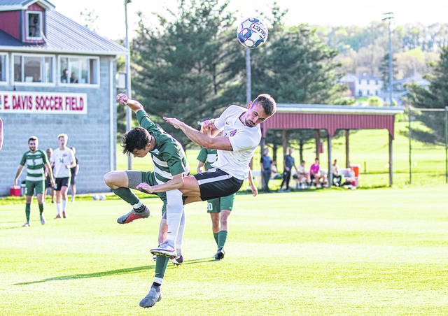 Rio Grande's Samuel Pedersen, shown here in a River States Conference semifinal round match against Point Park University in April, and the rest of the RedStorm will entertain NCAA Division I defending national champion Marshall University in an exhibition match on Friday morning.