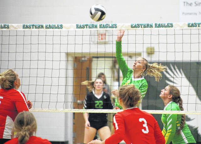 Eastern senior Sydney Reynolds hits a spike attempt during an Aug. 31 volleyball match against South Gallia in Tuppers Plains, Ohio.