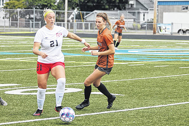 Rio Grande's Isabel Ruff was responsible for the RedStorm's lone goal in Wednesday afternoon's 1-1 tie with Lourdes University at Herrnstein Field in Chillicothe, Ohio.