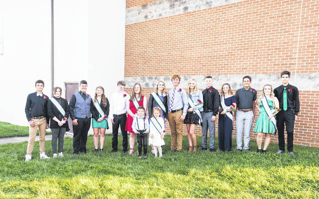 The Eastern Homecoming Court pictured from left are Sean Sobieski, Breanna Nelson, Ethan Short, Brielle Newland, Wyatt Boggs, Emma Epling, Megan Ross, Colton Reynolds, Abby Guthrie, Peyton Buckley, Nataley Lantz, Owen Davis, Juli Durst, and Seth Collins. Pictured in the front row are Beckett Simpson and Audrey Bowen.