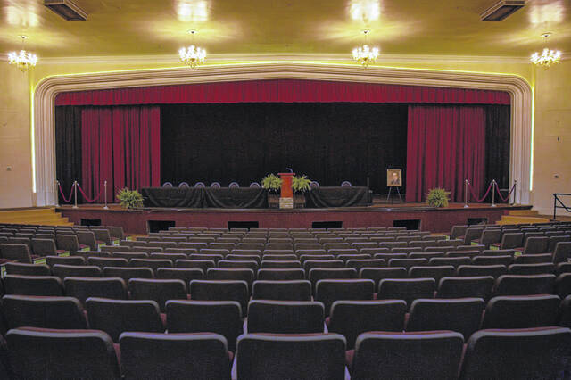 Pictured is the auditorium in The Blakeslee Center, which will be open for tours this Saturday.