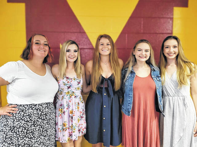 Pictured from left are the 2021 MHS Homecoming Court, Cameron Davis, Alexis Medley, Mallory Hawley, Amara Barrett and Layla Milliron.
