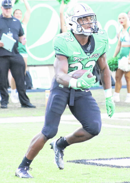 Marshall running back Rasheen Ali had three touchdowns for the Herd in a 34-28 loss on the road to the Middle Tennessee Blue Raiders Saturday evening in Murfreesboro, Tenn. (Colton Jeffries OVP Sports)
