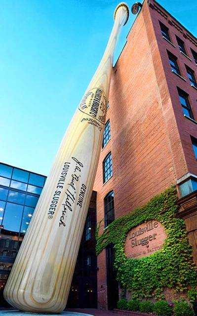 The 120-foot-tall Big Bat is the world's tallest and an exact replica of Babe Ruth's 34-inch Louisville Slugger. The Louisville Slugger Museum and Factory Tour is one of the best sports museums in the world, according to Forbes.com. Visitors can have personalized baseballs made during the factory tour.