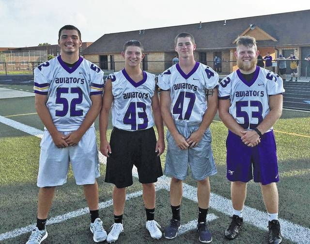 Butler head football coach Nathan Hyatt has named captains for the upcoming season. Pictured left to right are Caiden Serrer, Jack Mitchell, Logan Flatt, and Keagan Sommer. The Aviators will officially begin practice on July 31. They will open the season by hosting Massillon Perry on August 25.