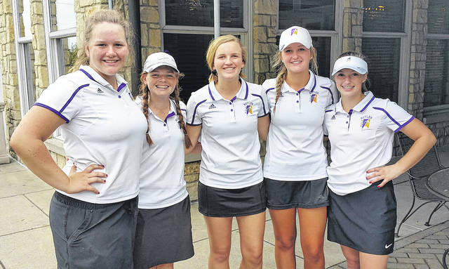 Members of the Butler girls golf team are pictured left to right Breanne Kroeker, Hailee Perry, Kaitlyn Jackson, Lexi Crawford and Elly Dukes.