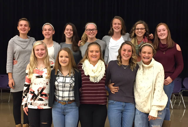 The Morton Middle School 8th grade volleyball team enjoyed their season-ending banquet after claiming the GWOC Silver tournament championship. Pictured back row (left to right) are Emily Ledbetter, Brook Long, Abby Plsek, Katie Bonifus, Regan Elder, Olivia Follick, Danny Holop; front row, left to right, Chloe Barnett, Stella Haws, Tabitha Johnson, Kali Snyder, and Bailey Flohre. Not pictured is Taryn Butler.