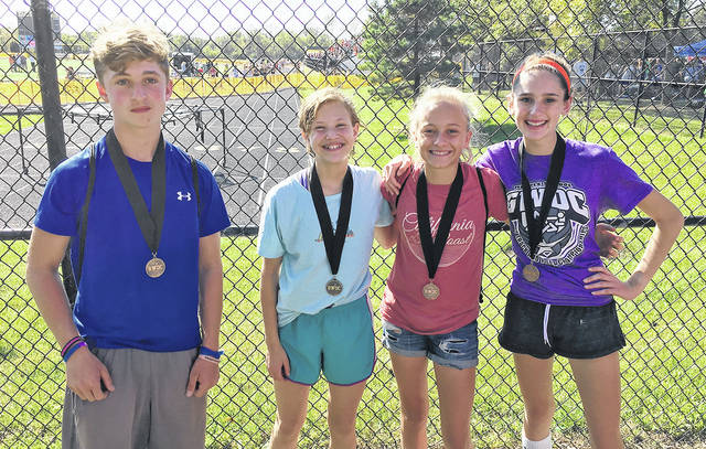 Members of the Morton Middle School cross country team earned All-GWOC Conference honors at the GWOC Championships on Saturday. Pictured left to right are Ian Pugh, Eleanor Towe, Kara Wade, and Eva Stalter.