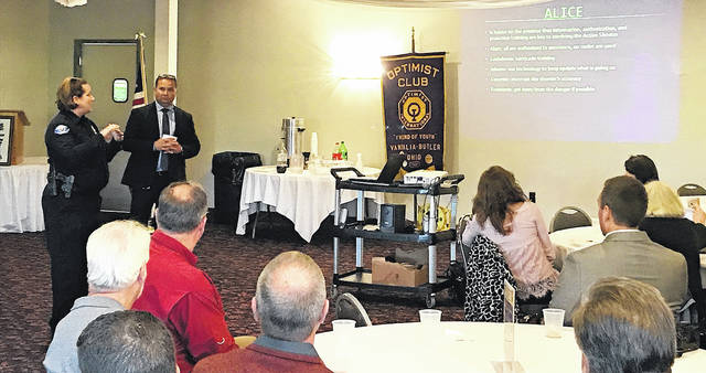 On Tuesday the Optimist Club hosted Bill Wertz and Officer Holly Estepp. They spoke to the group about A.L.I.C.E training. This is a program the faculty and staff at Vandalia Butler go through to prepare for a potential violent intruder scenario. Next Week the speaker is Ryan Palm from Sinclair to speak about their Drone program.
