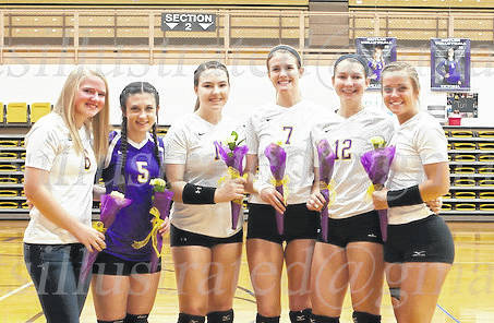 The Butler volleyball program honored seniors before its match with Miamisburg on Saturday. Pictured left to right are Becca Helke, Victoria Theobald, Mackenzie Duncan, Sarah Droesch, Grace Cope, and Willow Knight.