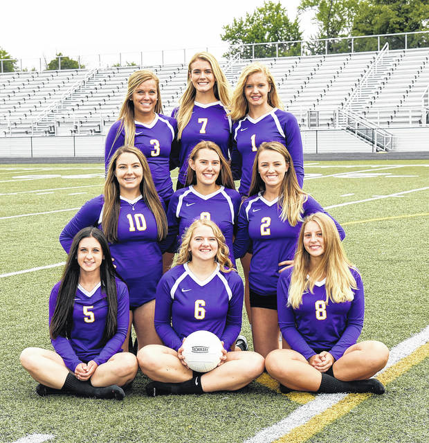 The Butler volleyball team is standing, left to right, Willow Knight, Sarah Droesch, Alyssa Burley; middle row, left to right, Mackenzie Duncan, Karli Kercher, Grace Swarts; bottom row left to right, Victoria Theobald, Becca Helke, and Nikita Brown.