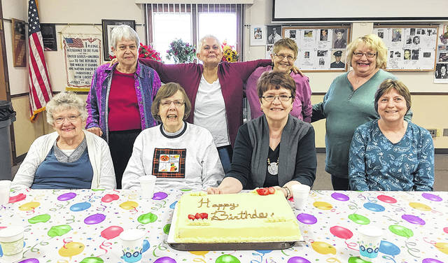The Vandalia Senior Center celebrated October birthdays. Pictured standing are Nancy Clark, Sharon Stevens, Mary Ann Fisher, Sharon Leidecker; seated are Judy Wood, Janet Weddell, Kathy Halda, and Judy Weeks. Thanks to Friendship Village for providing the cake.