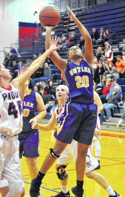 Tyree Fletcher goes in for two of her 11 points versus Piqua.