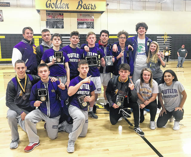 The Butler Aviators placed first out of 12 teams at the Golden Bear Invitational at Upper Arlington High School. Pictured front row, left to right, are Michael Brandt, Matt Motter, Logan Hoskins, Ronnie Pietro, Bella Bratton, Tyra Pittman; back row, left to right, Nick Coyle, Mason Motter, Matt Verdes, Ethan Cyrette, Jestin Love, Jansen Love, Bailey Suddeth, Will Long, and Allie Marvin.