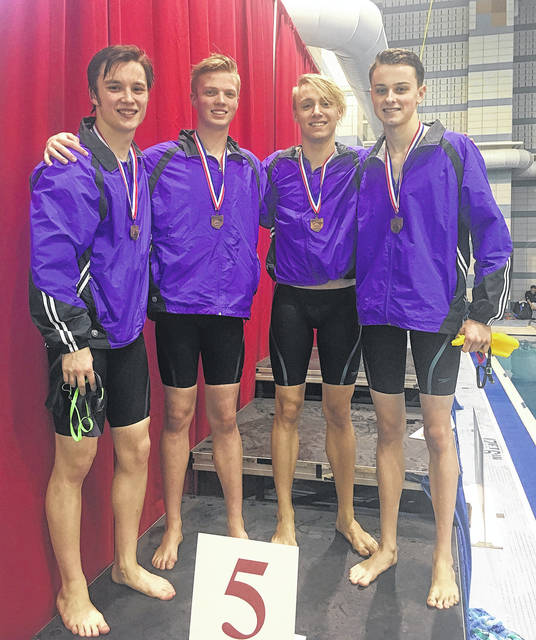 The 200 yard free relay team of Brendan Shanahan, Colin Wolfe, Matt Brunsky, and Jacob Staley qualified for State.