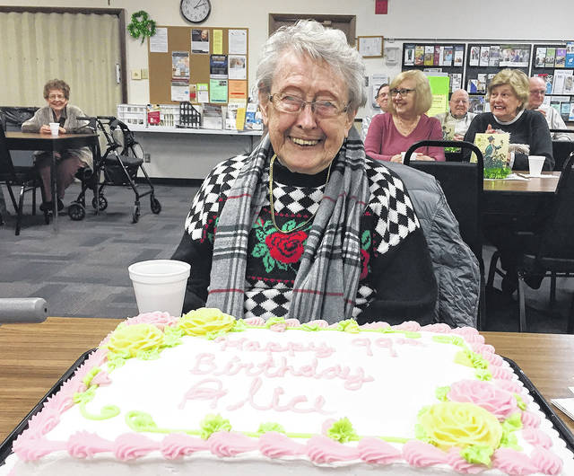 The Sinclair Community College Political Science class at the Vandalia Senior Center recently helped Alice Bair celebrate her 99th birthday. She is the oldest member of the Vandalia Senior Center. The center has two other members also turning 99 in March and April.