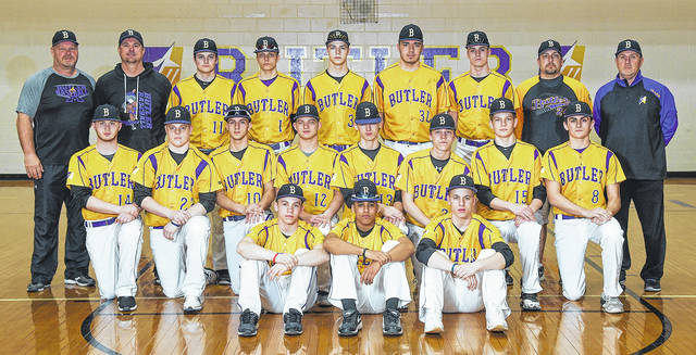 The 2018 Butler baseball team is front row, left to right, Carson Clark, Quinton Hall., and Boston Smith; middle row, left to right, Joe Jackson, Carter Peck, Braden Norman, Jackson Mitchell, Cody Borchers, cam Miller, Cooper Harestad, Jake DeMoss; back row, left to right, Coach Scott Thompson, coach Trent dues, Ryan Qvick, Preston Tofstad, Dolen fultz, Caden Serrer, Evan McKinney, coach Mike bardonaro, and Coach Steve Clark.