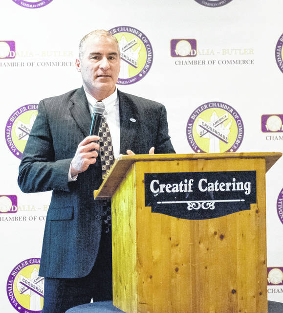 Vandalia City Manager Jon Crusey spoke on the State of the City and showed a video during the Vandalia-Butler Chamber of Commerce's Annual Membership meeting on Tuesday.
