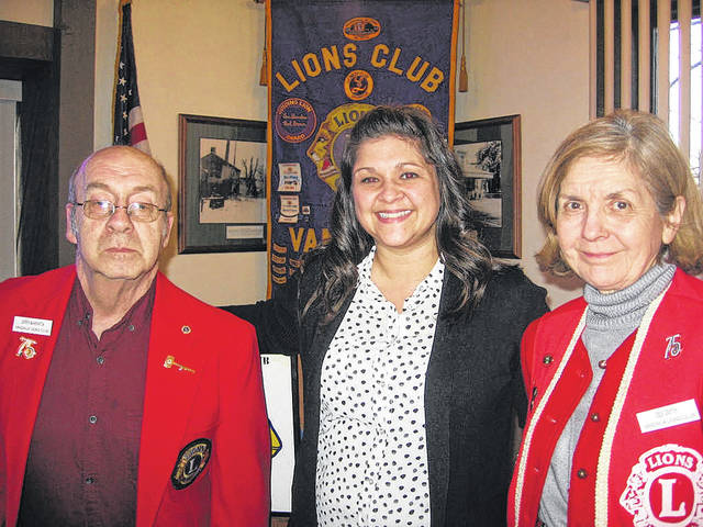 Pictured left to right are Vandalia Lions Club President Jerry Marrata, Butler Township Administrator Erika Vogel, and Lions Program Chairperson Dee Smith.