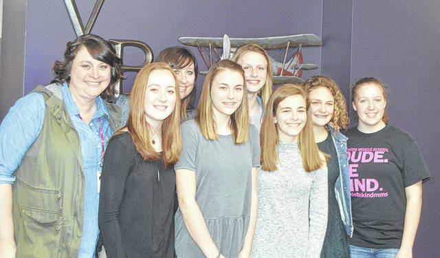 Morton Middle School National Junior Honor Society members presented middle school happenings at Tuesday's Board of Education meeting. Pictured left to right are Advisor Lisa Erdahl, Danielle Holop, Advisor Amy Stein, Kali Snyder, Raegan Elder, Molly Lipps-Clase, Bailey Flohre, and Taryn Butler.