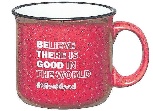 "The inspirational ""Believe There is Good in The World - Be The Good"" stoneware coffee mug is a gift to everyone who registers to donate at the Vandalia United Methodist Church blood drive on April 2."