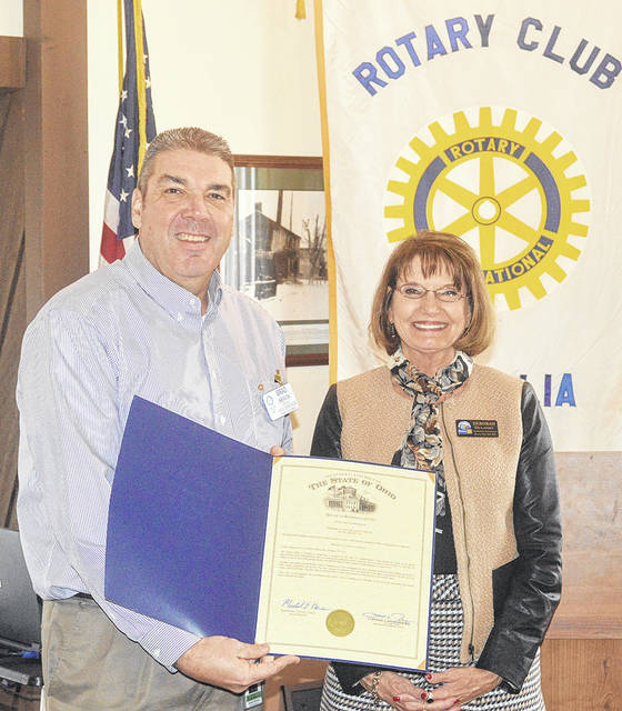 Rotary Assistant District Governor Deborah Dulaney presented Vandalia Rotary President Brad Neavin a proclamation from Ohio Representative Mike Henne (R-40) and Speaker of the House Clifford Rosenberger in recognition of the club's 60th anniversary.