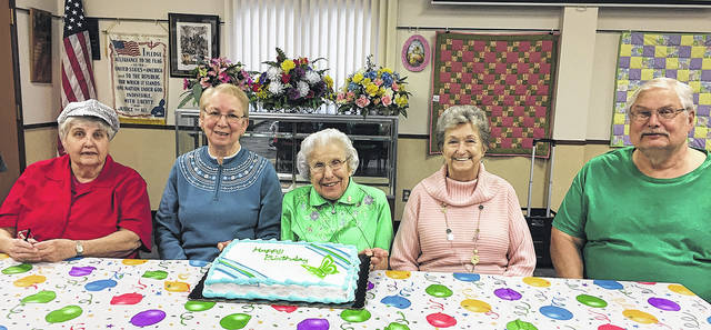 The Vandalia Senior Center recently celebrated March birthdays. Pictured left to right are Liz Bennett, Shirley Greene, Ruth Flory, Pat Hoskins, and Larry Hagen. Thanks to Friendship Village for providing the cake.